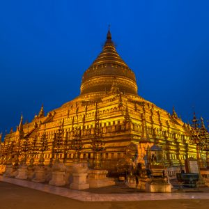 Shwezigon Pagoda Bagan Myanmar at twilight time